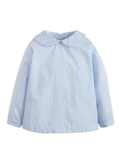 Peter Pan Shirt - Light Blue Gingham, Little English, classic children's clothing, preppy children's clothing, traditional children's clothing, classic baby clothing, traditional baby clothing