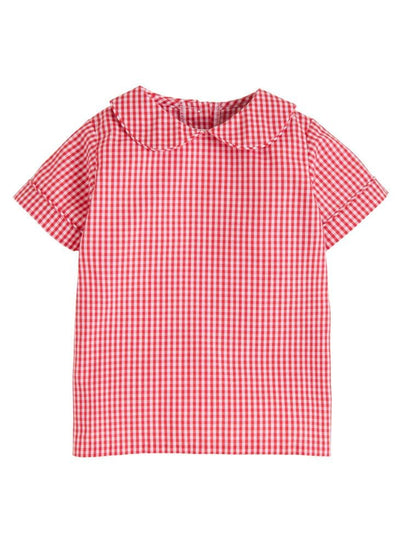 Short Sleeve Peter Pan Shirt - Red Gingham, Little English, classic children's clothing, preppy children's clothing, traditional children's clothing, classic baby clothing, traditional baby clothing