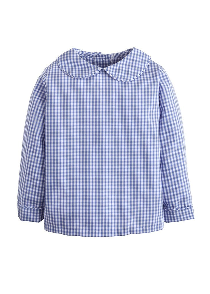 Peter Pan collar shirt in royal blue gingham