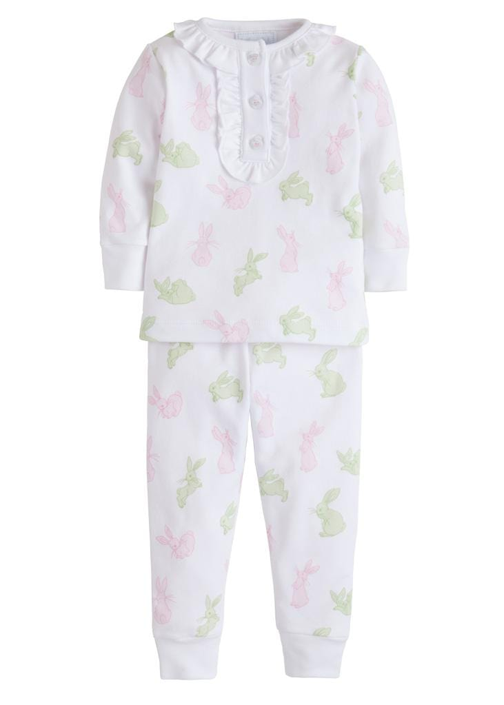 Pink & Green Bunny Printed Pajamas, Little English, classic children's clothing, preppy children's clothing, traditional children's clothing, classic baby clothing, traditional baby clothing