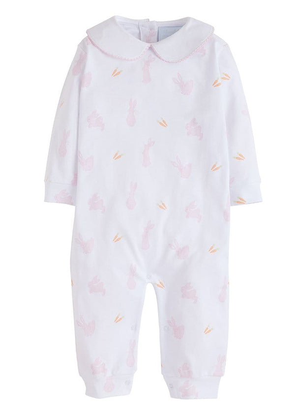 Little English classic girls pink printed bunny romper baby girls easter outfit