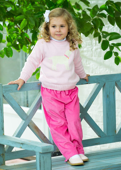 Hot Pink Bow Pant, Little English traditional children's clothing, girl's classic hot pink corduroy pants