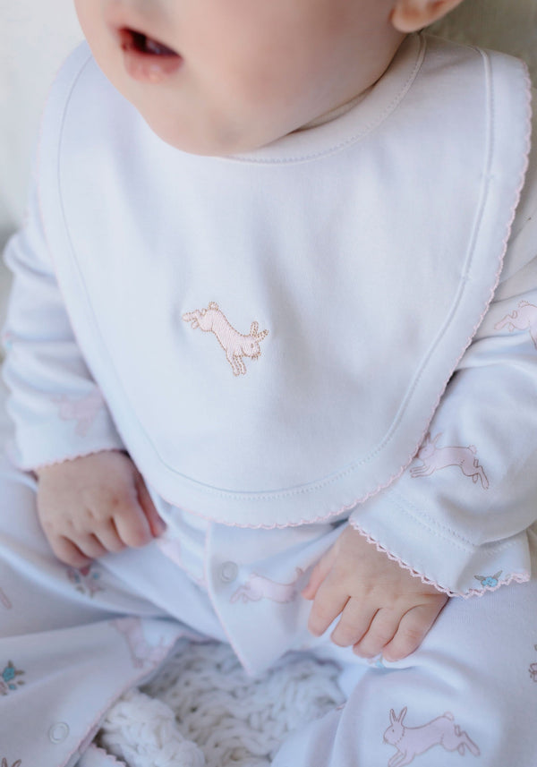 Embroidered Bib - Pink Bunny, Little English, classic children's clothing, preppy children's clothing, traditional children's clothing, classic baby clothing, traditional baby clothing