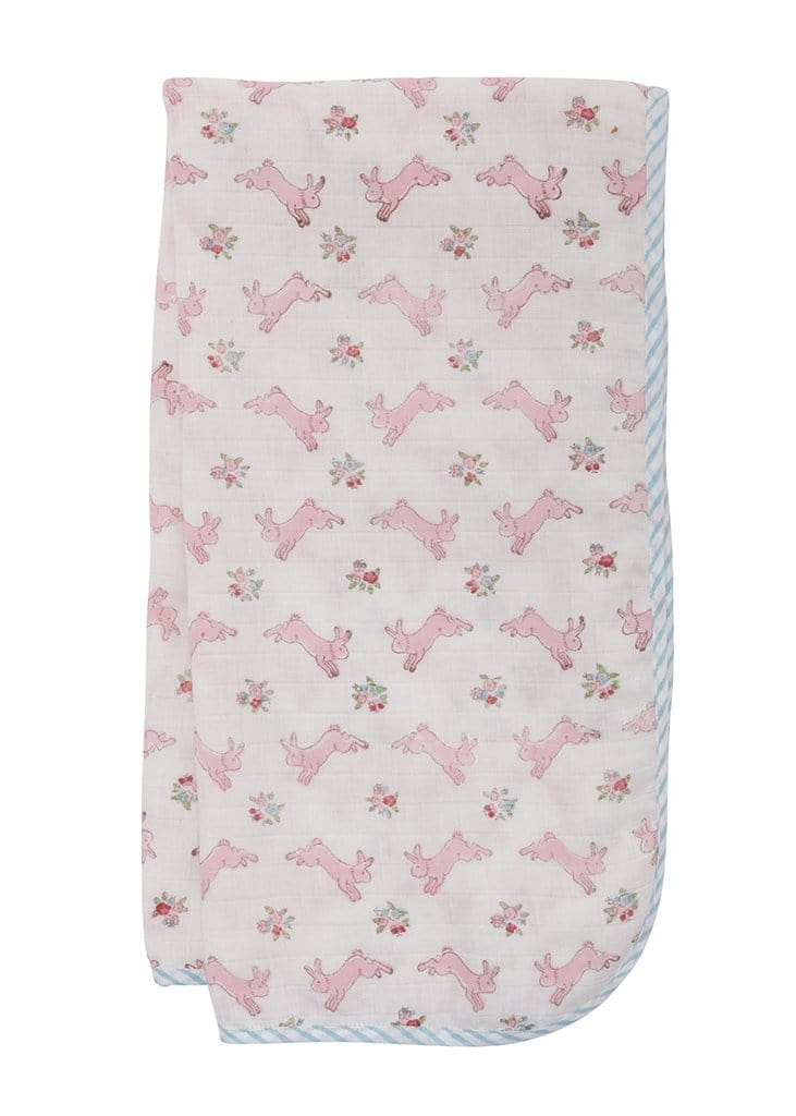 Muslin Swaddle - Pink Bunny, Little English, classic children's clothing, preppy children's clothing, traditional children's clothing, classic baby clothing, traditional baby clothing
