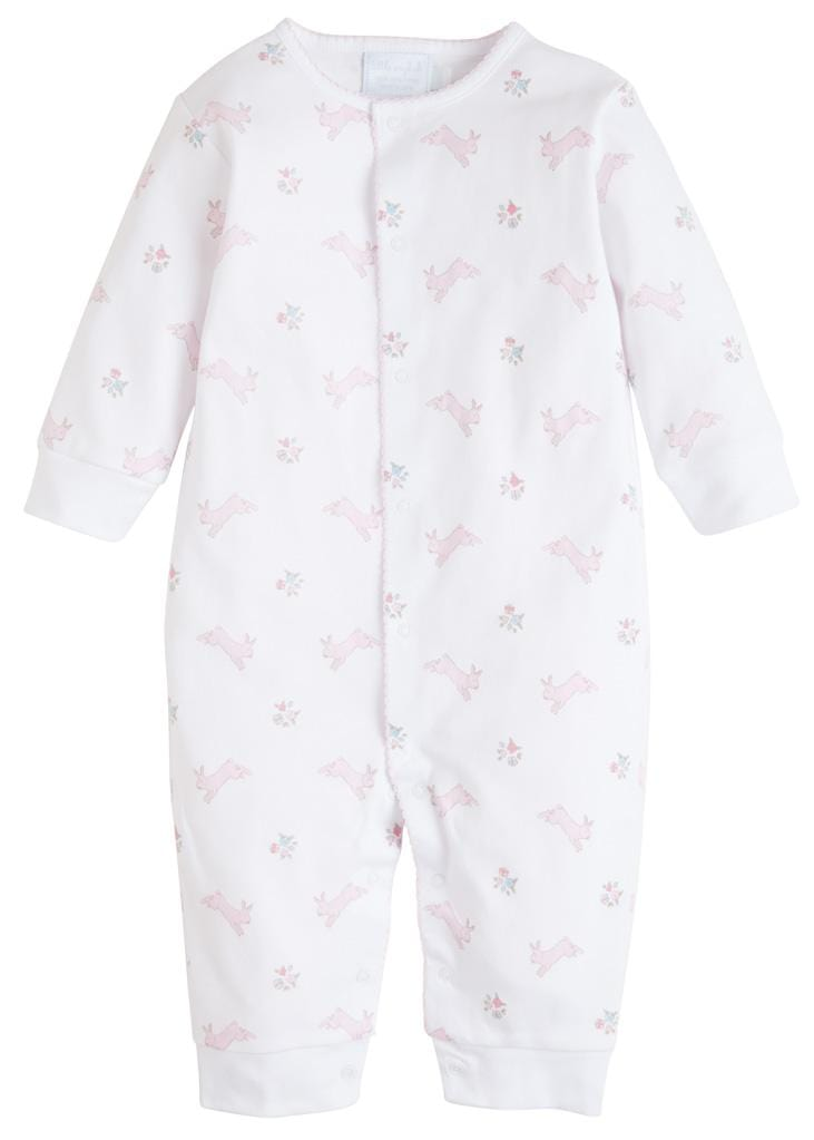 Pink Printed Bunnies Romper, Little English, classic children's clothing, preppy children's clothing, traditional children's clothing, classic baby clothing, traditional baby clothing