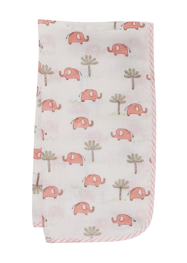 Muslin Swaddle - Pink Elephant, Little English, classic children's clothing, preppy children's clothing, traditional children's clothing, classic baby clothing, traditional baby clothing