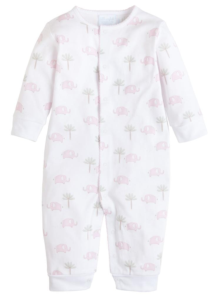 Pink Printed Elephant Romper, Little English, classic children's clothing, preppy children's clothing, traditional children's clothing, classic baby clothing, traditional baby clothing