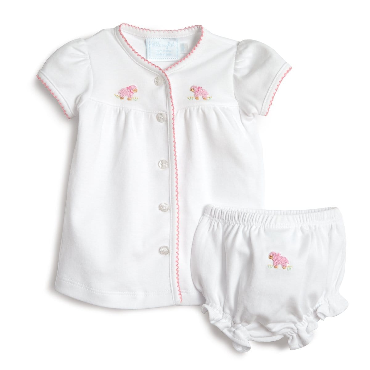 pinpoint knit layette set with pink sheep embroidery