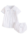 Pinpoint Layette Knit Set - Blue Sheep