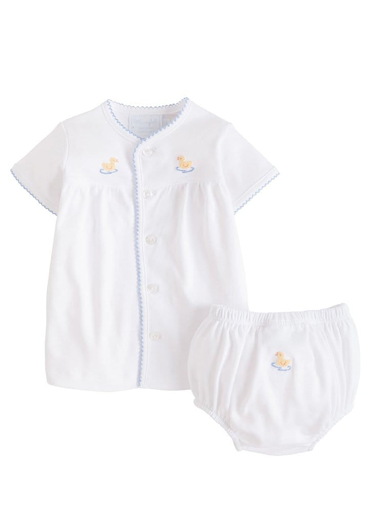 Pinpoint Layette Knit Set-Duck