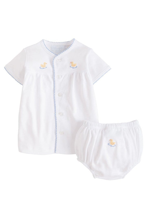Pinpoint Layette Knit Set - Duck