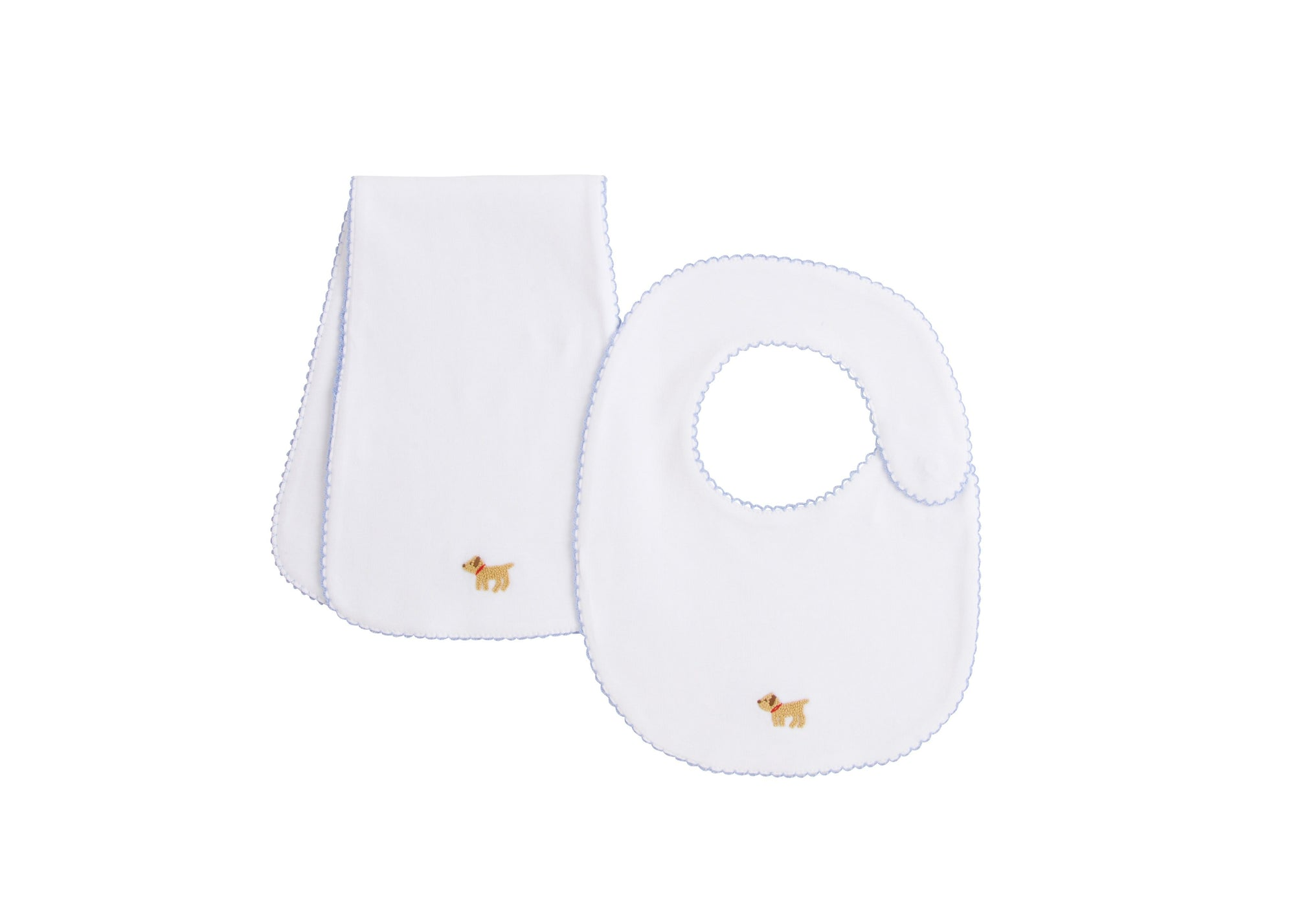 Pinpoint Bib N' Burp Set-Lab, Little English, classic children's clothing, preppy children's clothing, traditional children's clothing, classic baby clothing, traditional baby clothing