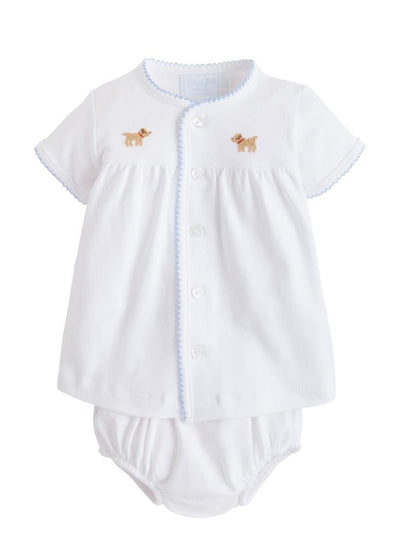 Little English baby knit layette set with pinpoint embroidered dog