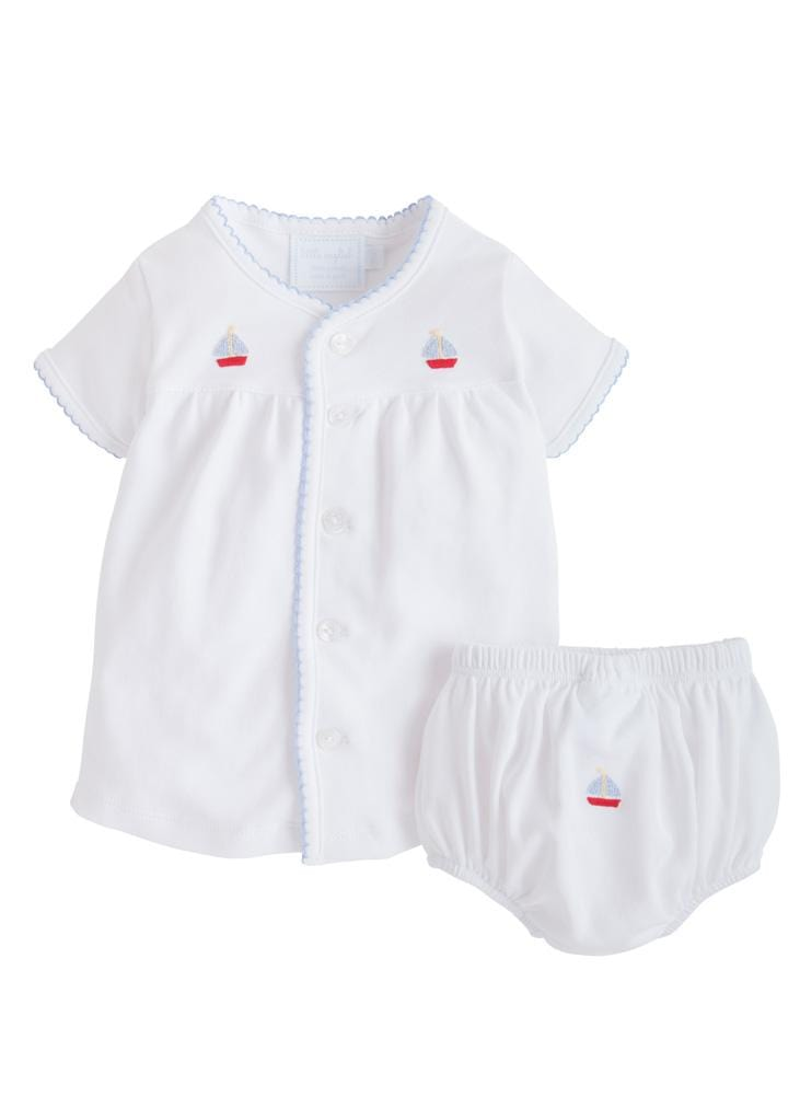 Little English baby knit layette set with pinpoint embroidered sailboat