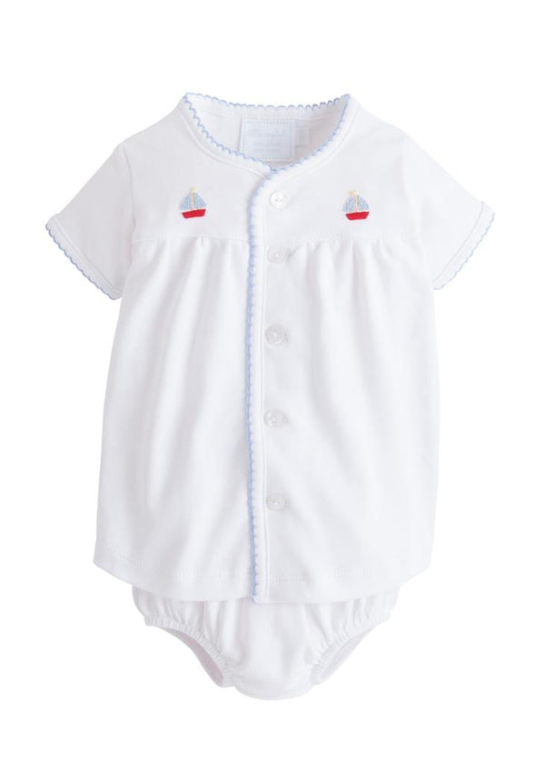 Pinpoint Layette Knit Set-Sailboat, Little English, classic children's clothing, preppy children's clothing, traditional children's clothing, classic baby clothing, traditional baby clothing