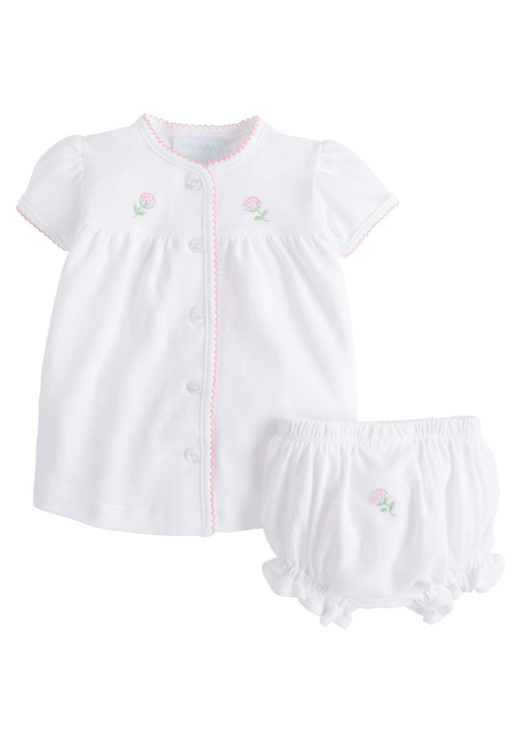 Little English baby knit layette set with pinpoint embroidered flowers