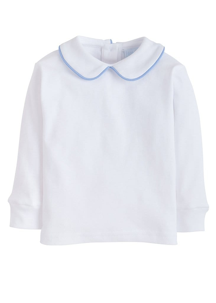 Piped Peter Pan Shirt - Light Blue
