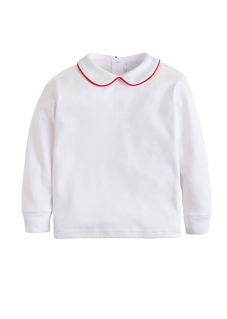 boys white cotton long sleeve shirt with Peter Pan collar