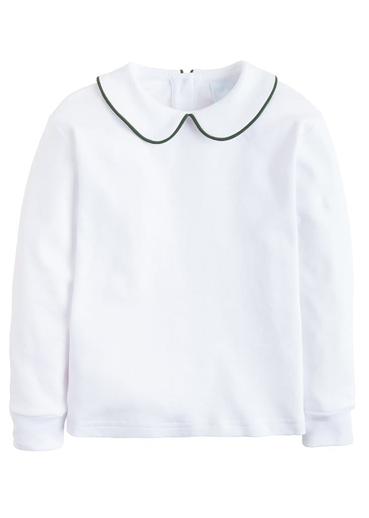 boys white cotton Peter Pan shirt with hunter green piping