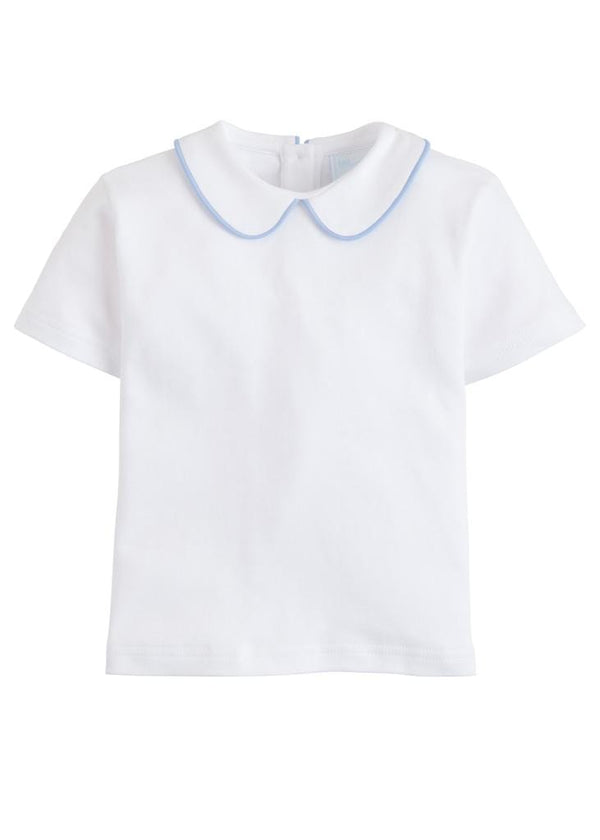 Piped Peter Pan Short Sleeve - Light Blue, Little English, classic children's clothing, preppy children's clothing, traditional children's clothing, classic baby clothing, traditional baby clothing