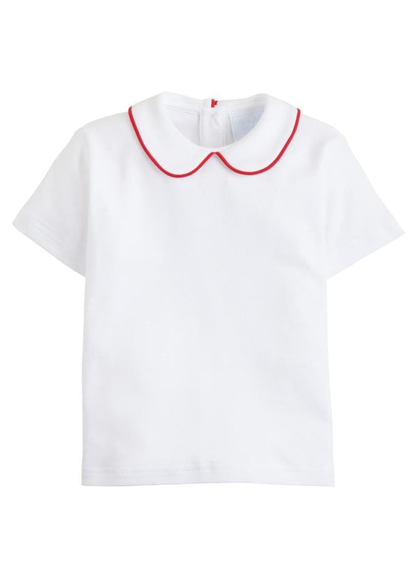 Piped Peter Pan Short Sleeve - Red, Little English, classic children's clothing, preppy children's clothing, traditional children's clothing, classic baby clothing, traditional baby clothing