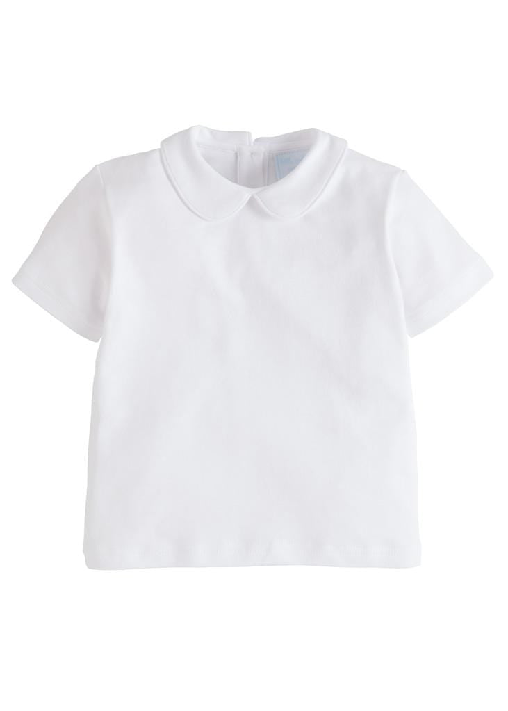 Piped Peter Pan Short Sleeve - White, Little English, classic children's clothing, preppy children's clothing, traditional children's clothing, classic baby clothing, traditional baby clothing