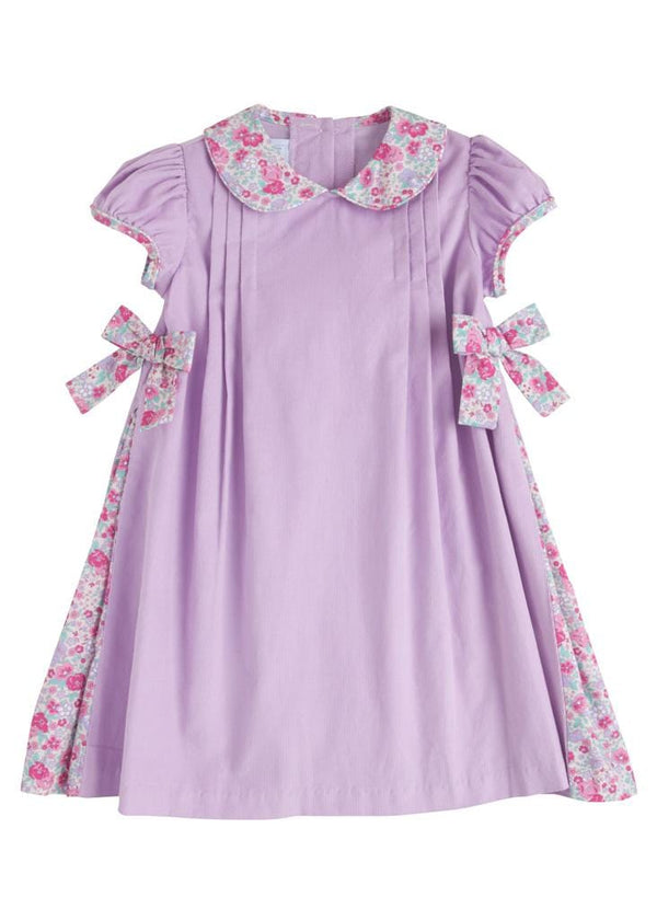 Pleated Bow Dress, Little English Traditional Children's Clothing, girl's classic lavender floral corduroy dress