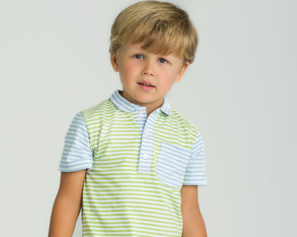 Light English light blue and green colorblock polo shirt