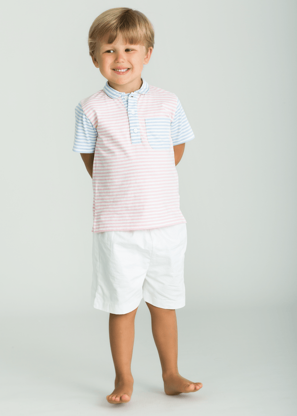 Pocket Peter Pan Polo - Pink/Blue