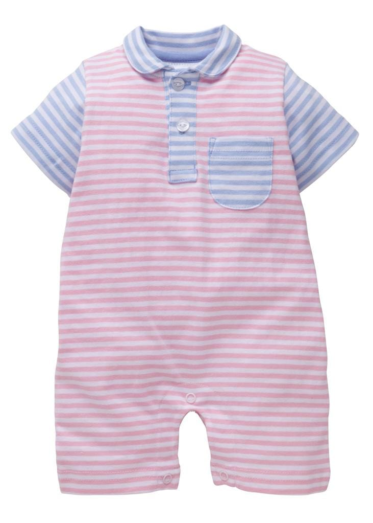 Pocket Peter Pan Romper - Pink/Blue, Little English, classic children's clothing, preppy children's clothing, traditional children's clothing, classic baby clothing, traditional baby clothing