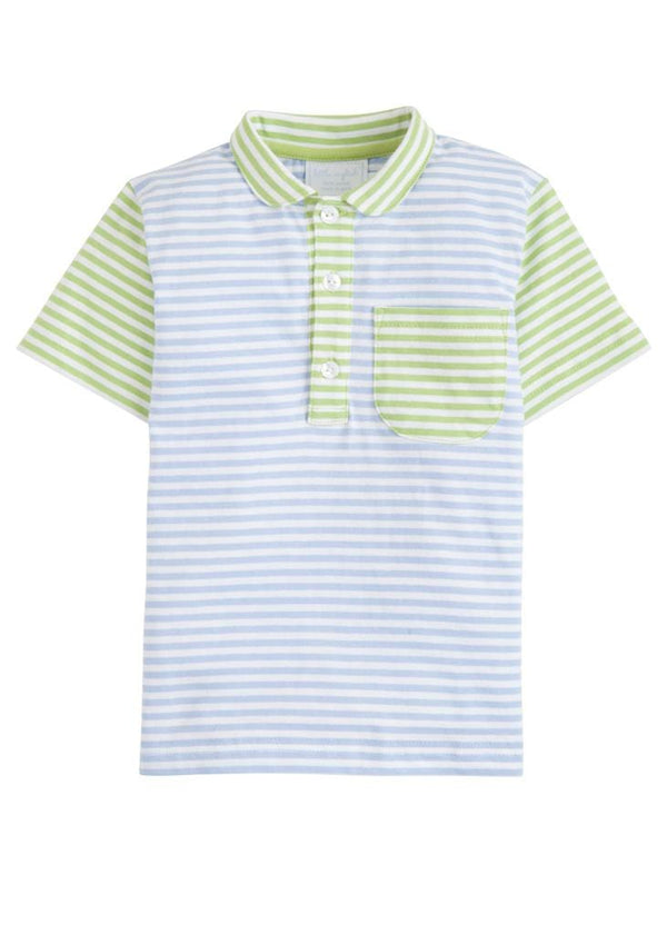 Pocket Peter Pan Polo - Blue/Green, Little English, classic children's clothing, preppy children's clothing, traditional children's clothing, classic baby clothing, traditional baby clothing