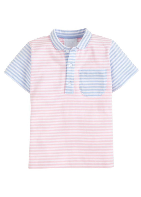 Pocket Peter Pan Polo - Pink/Blue, Little English, classic children's clothing, preppy children's clothing, traditional children's clothing, classic baby clothing, traditional baby clothing