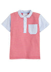 Pocket Peter Pan Polo - Red/Blue, Little English, classic children's clothing, preppy children's clothing, traditional children's clothing, classic baby clothing, traditional baby clothing