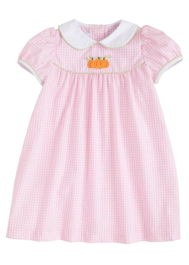 Little English classic girl's light pink gingham dress with pumpkins, traditional children's clothing