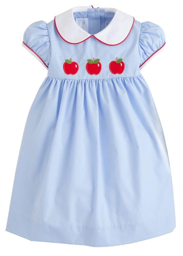 Little English classic girls back to school apples dress