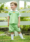 Pumpkin Darcy Short Set, light green gingham short set for boy, Little English traditional children's clothing