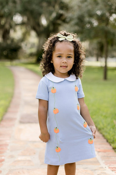 Pumpkin Phoebe Dress, Little English Traditional Children's Clothing, girl's classic light blue knit dress