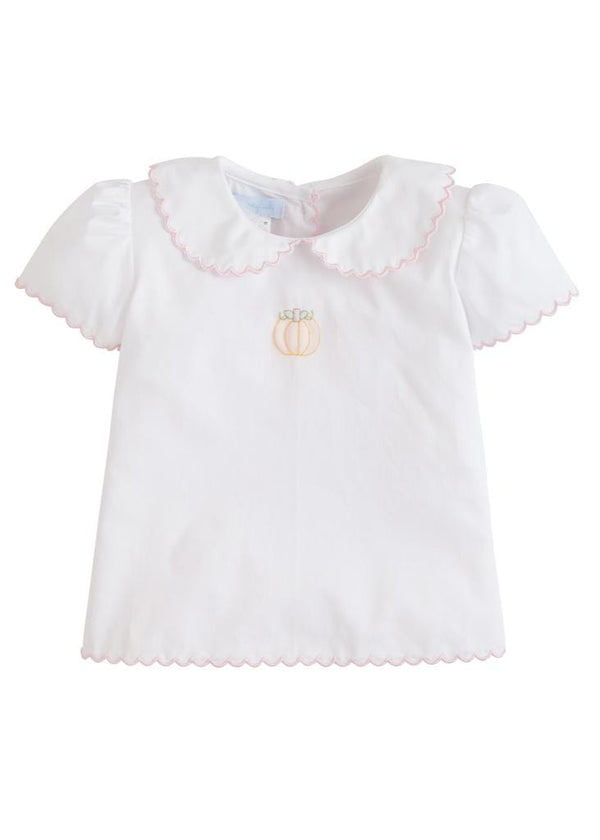 Little English classic girl's embroidered pumpkin tea blouse, traditional children's clothing