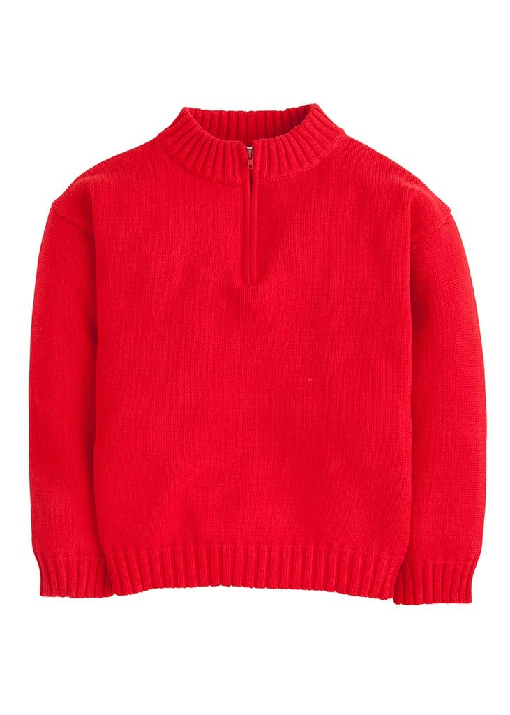 little english boys classic red quarter zip sweater