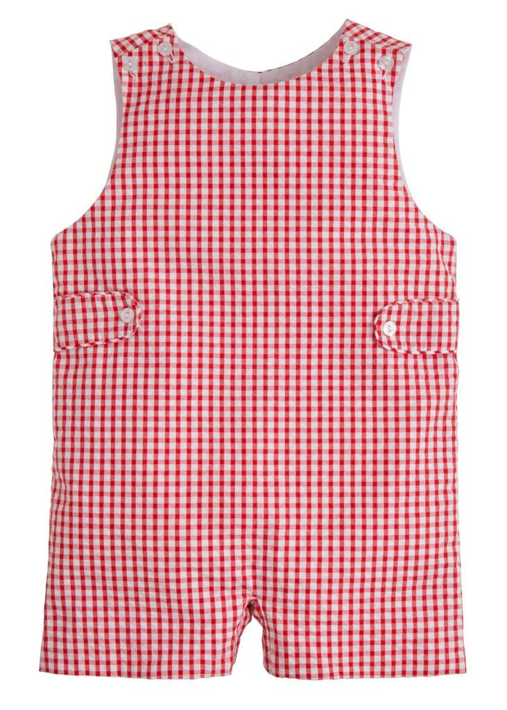 Red Gingham Button Tab John John, Little English, classic children's clothing, preppy children's clothing, traditional children's clothing, classic baby clothing, traditional baby clothing