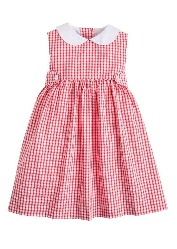 Red Gingham Button Tab Nantucket Dress, Little English, classic children's clothing, preppy children's clothing, traditional children's clothing, classic baby clothing, traditional baby clothing