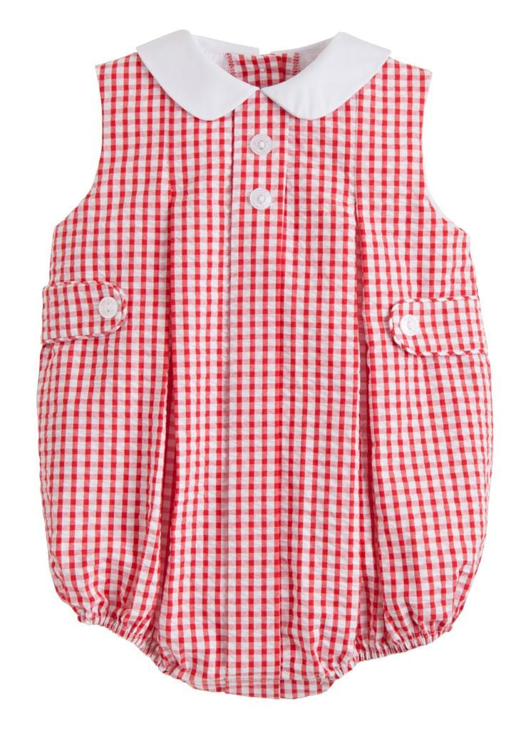 Red Gingham Sleeveless Nicholas Bubble, Little English, classic children's clothing, preppy children's clothing, traditional children's clothing, classic baby clothing, traditional baby clothing