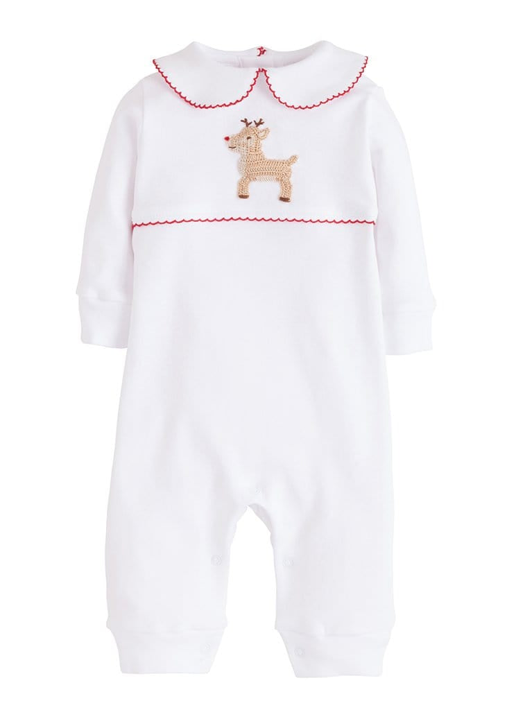Little English infant white cotton playsuit with reindeer crochet detail