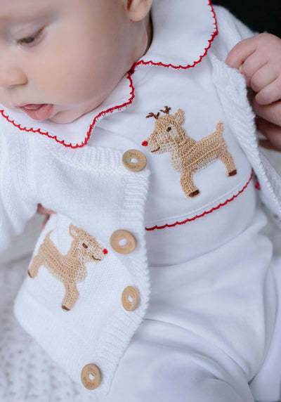 Reindeer Crochet Playsuit, Little English, classic children's clothing, preppy children's clothing, traditional children's clothing, classic baby clothing, traditional baby clothing