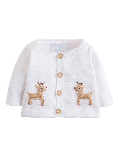 Little English infant white cotton knit cardigan sweater with reindeer crochet details