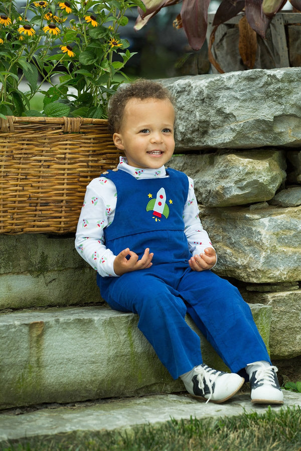 Little English classic children's clothing, boy's royal rocket applique overall, traditional children's clothing