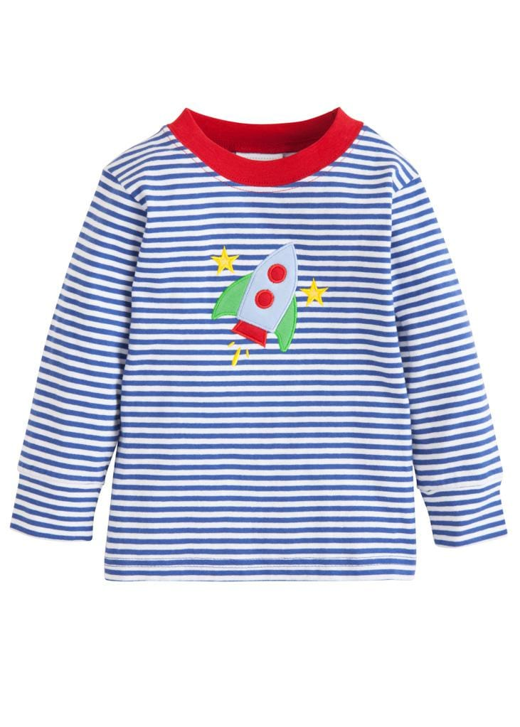 Little English classic boy's rocket applique shirt, traditional children's clothing