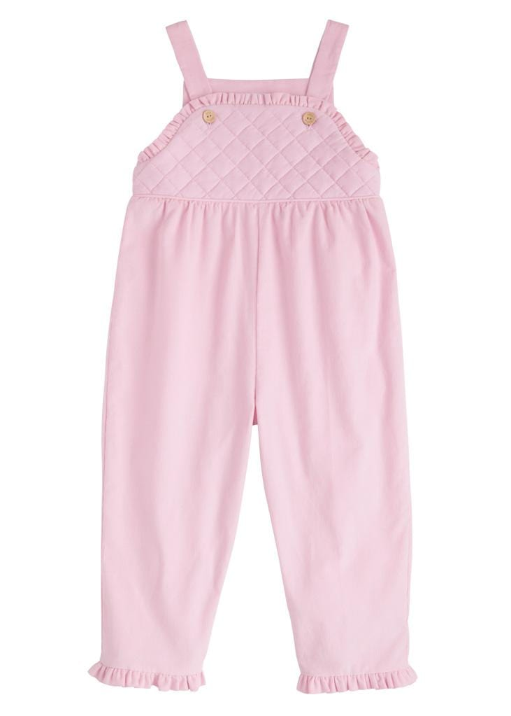 Little English classic ruffled pink corduroy overall