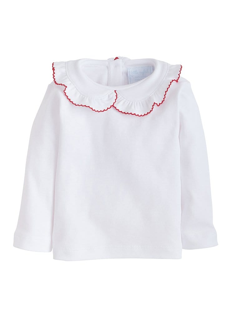 Ruffled Peter Pan Blouse - Red