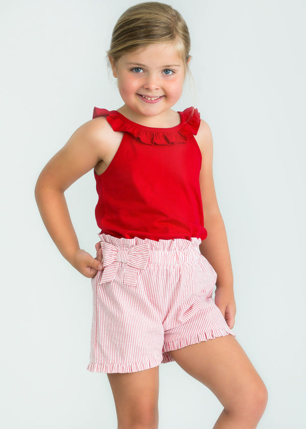 Little English girl's basics, red knit top, red seersucker bow shorts